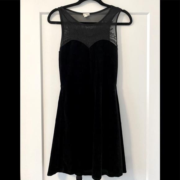 Velvet Black Dress with Mesh Top